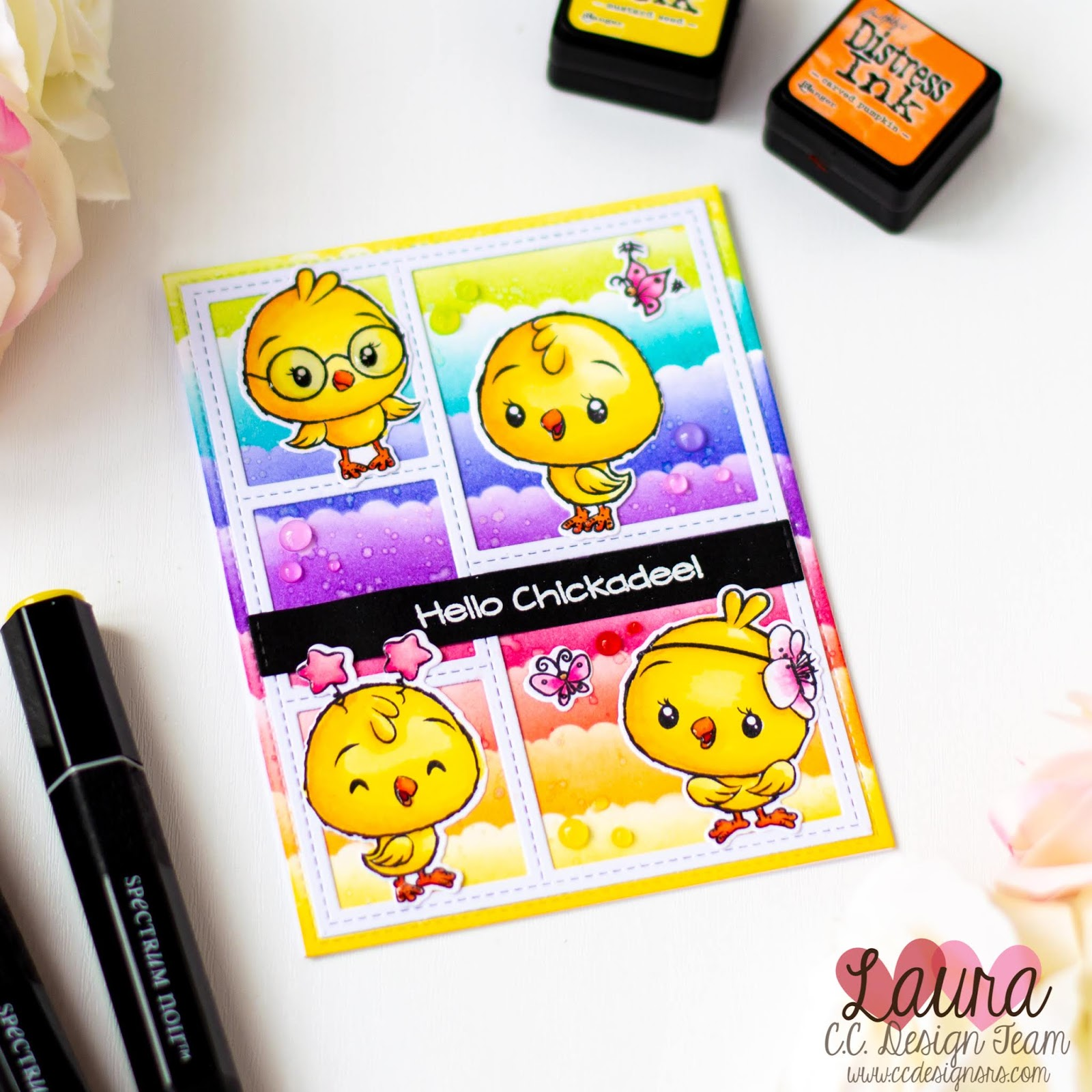 Laura Volpes: Distress Ink Stenciled Rainbow - Handmade Card feat