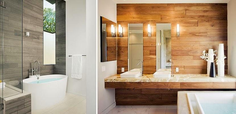 Marzua cuartos de ba o con paredes de madera for Muebles imitacion