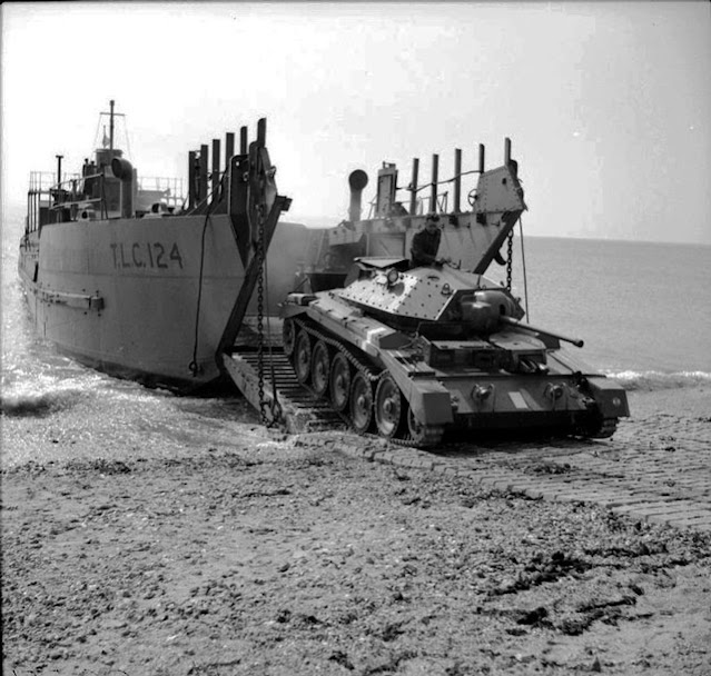Crusader tank exits landing craft 26 April 1942 worldwartwo.filminspector.com