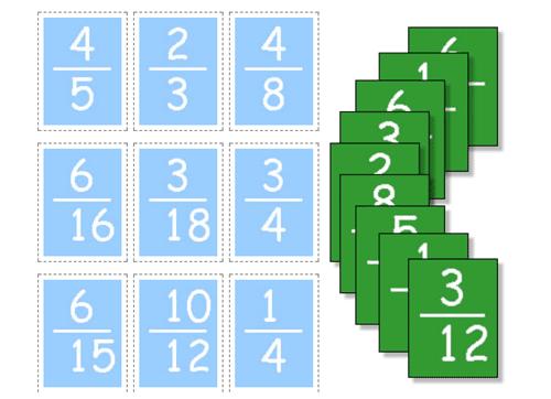 Empareja las cartas para que las fracciones sean equivalentes