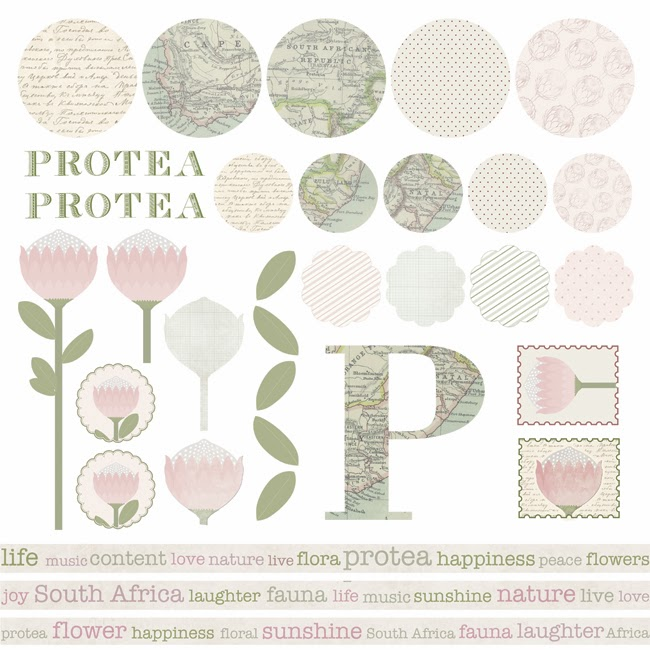 Happiness is... Custom Designed Protea Themed Scrapbooking Pack - scrapbooking stickers