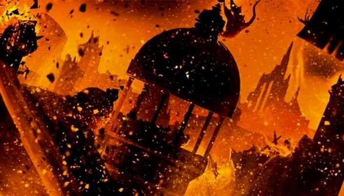 Imagem: Ilustração da antiga valíria. Uma cidade com grandes Torres que está desabando e pedaços das construções se desmontam enquanto fogo rodeia e fumaça sobe no céu. A imagem toda é em tons de vermelho e fuligens também circulam a imagem. No fundo a silhueta de um dragão cai do céu.