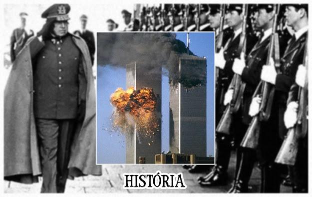 Imagem de atentado ao World Trade Center, e ao fundo uma imagem de Augusto Pinochet