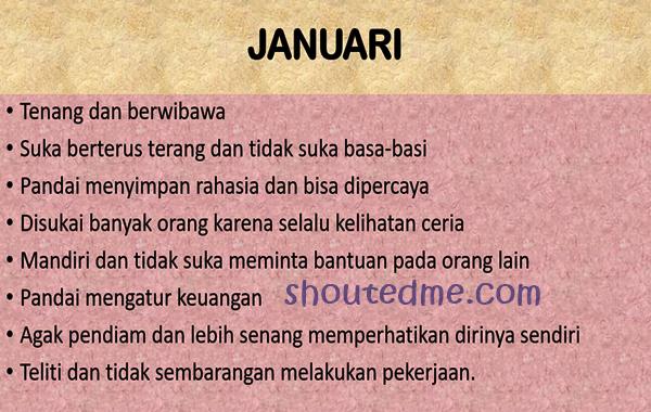 sifat dan karakter lahir bulan januari