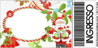 Tarjeta con forma de Ticket de Santa en Fondo Verde.
