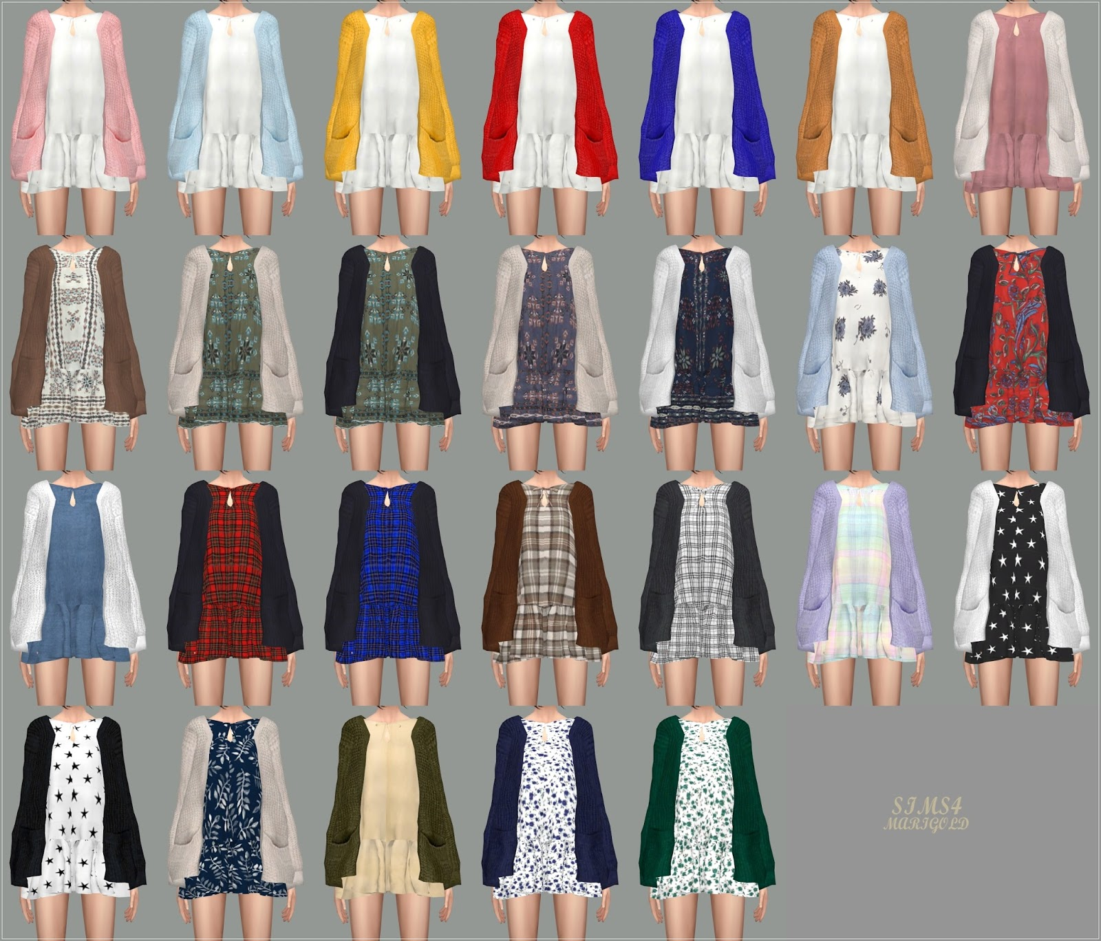 My Sims 4 Blog Spring Dress With Cardigan By Marigold