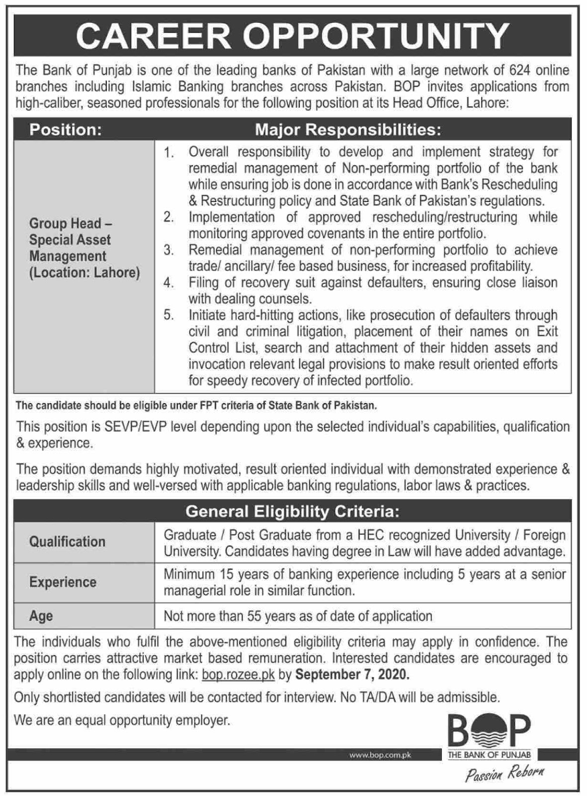 Jobs in Bank of Punjab BOP 24 August 2020