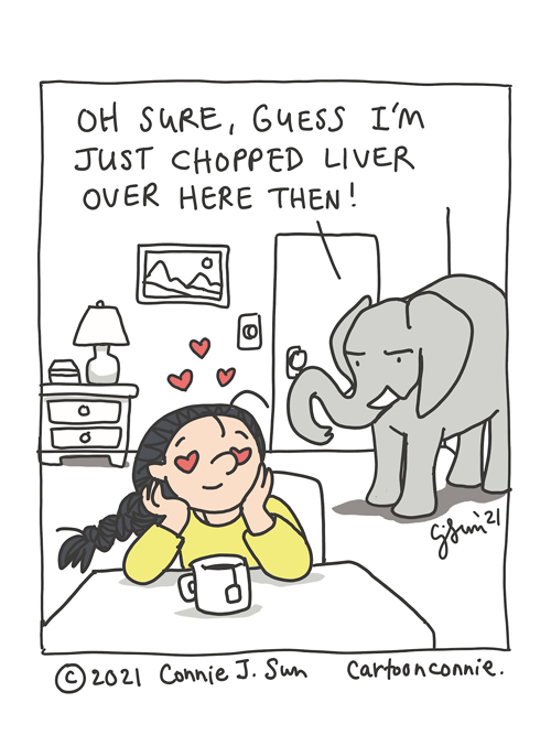 Illustration of a jealous elephant, elephant comic, sketchbook drawing humor by Connie Sun, cartoonconnie