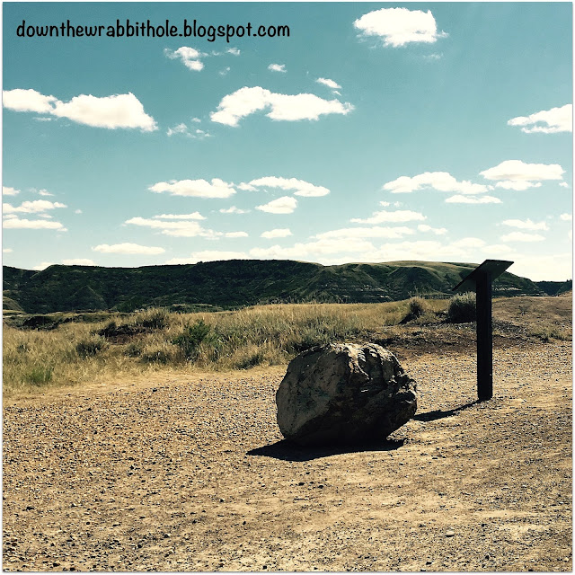 Erratic rock on the Badlands Interpretive Trail in Drumheller Alberta