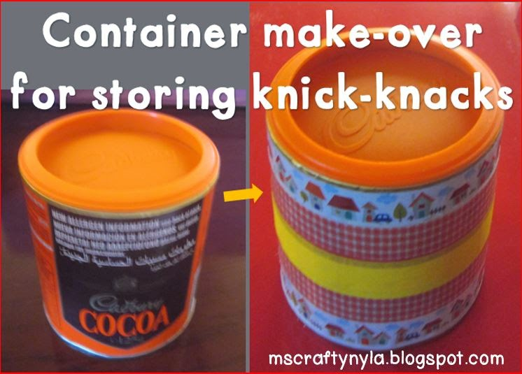 Reusing containers with a washi tape makeover