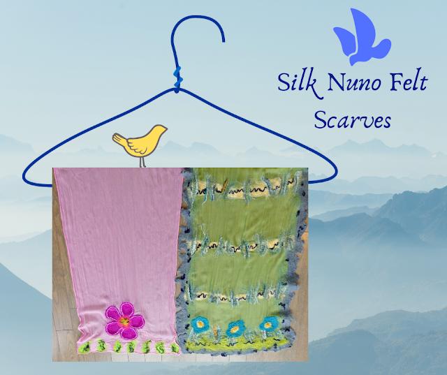 Silk Nuno Felt Scarves by Minaz Jantz