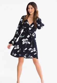 robe porte feuille fleurie bleue C&A