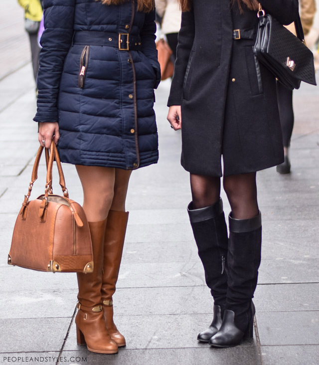 What to wear when temperatures dip close to sub-zero - few stylish street fashion inspiration to inspire your daily outfits. Ena Pejković i Gorjana Banjanin