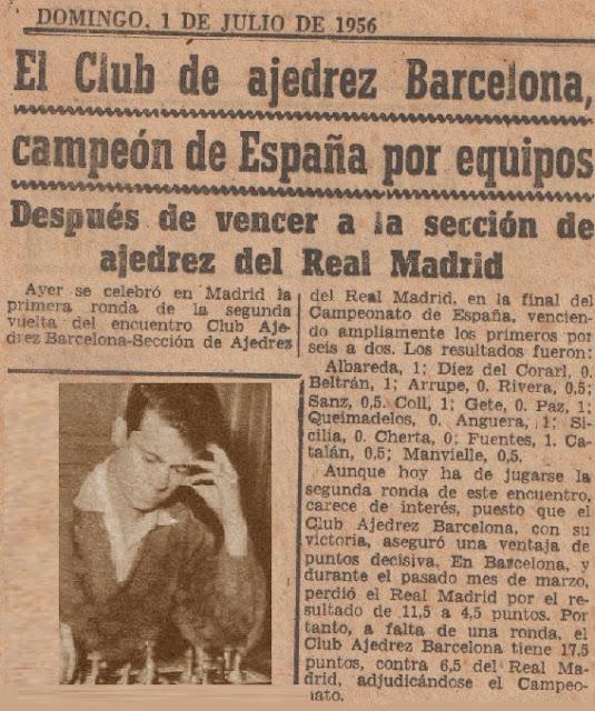 El Club Ajedrez Barcelona campeón de España por equipos 1956