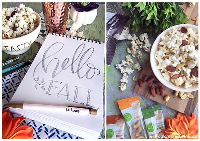 hello Fall, hand lettering, popcorn snack idea, organic snack ideas