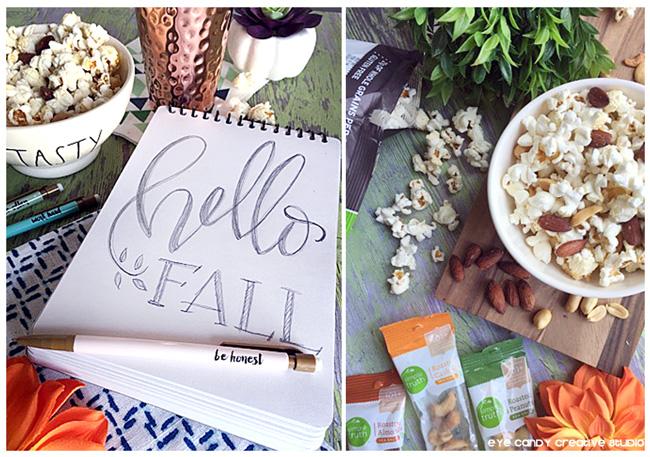 hello Fall, hand lettering, popcorn snack idea, organic snack ideas