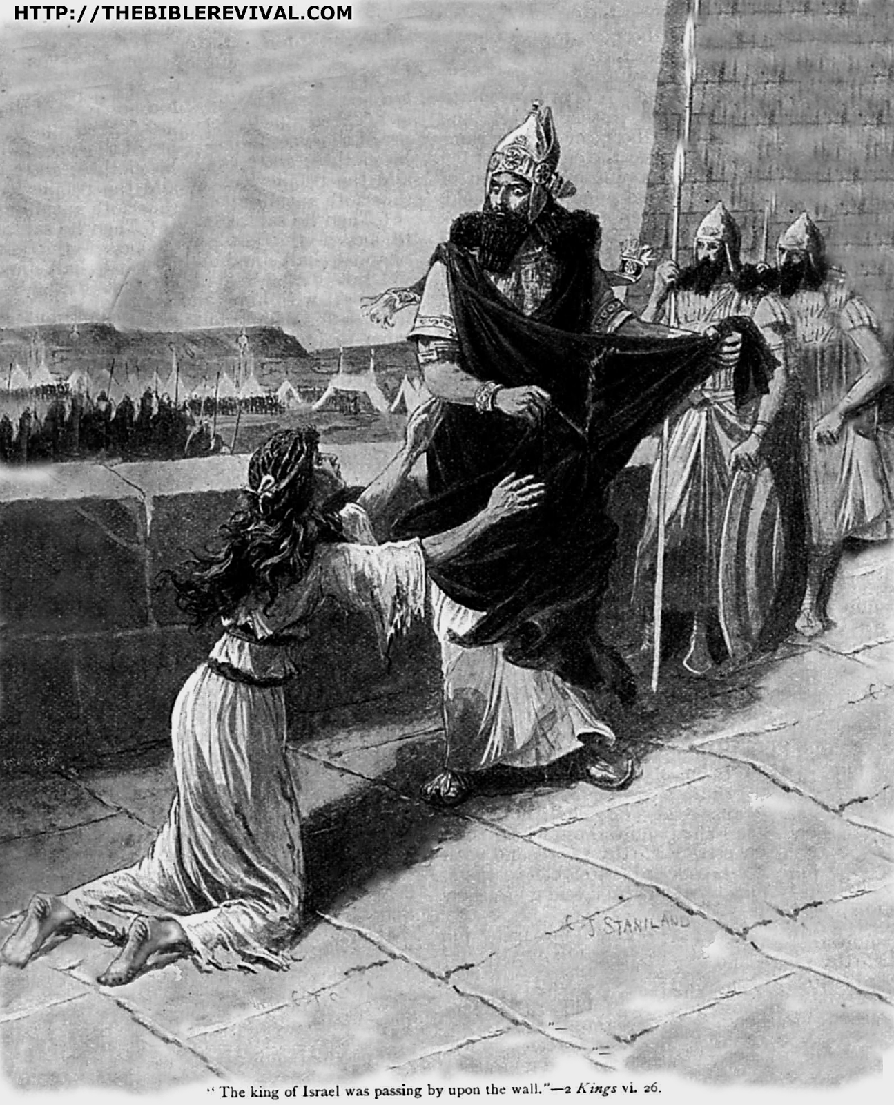 In her desperation, this lady (with her son), went to see the King (2 Kings 8:3), hoping for a suitable answer; for maybe small mercies.