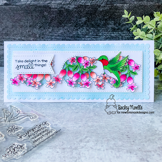 Take delight in the small things by Becky features Hummingbird, Slimline Frames & Portholes and Frames & Flags by Newton's Nook Designs; #newtonsnook