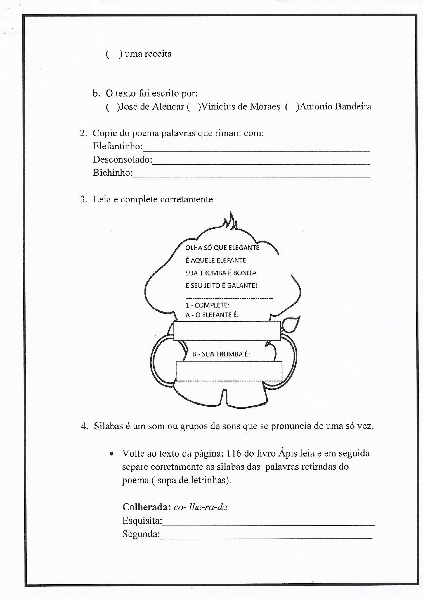 Atividade de Português: poema, silaba, ortografia LH e H