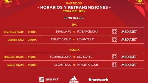 Copa del Rey 2020/2021: Sevilla - FC Barcelona y Athletic - Levante en semifinales