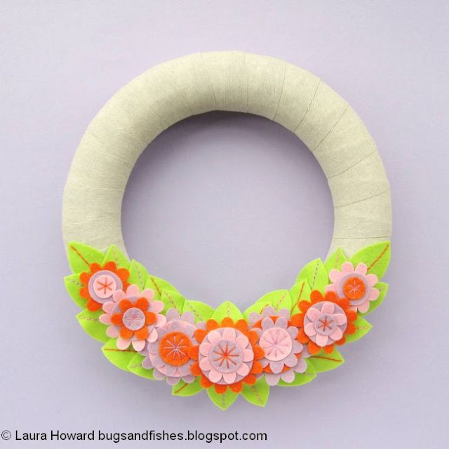 Felt Spring Flowers Wreath Tutorial
