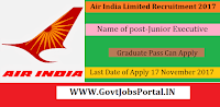 Air India Recruitment 2017– 07 Junior Executive