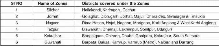 APSC Examination zones in Assam