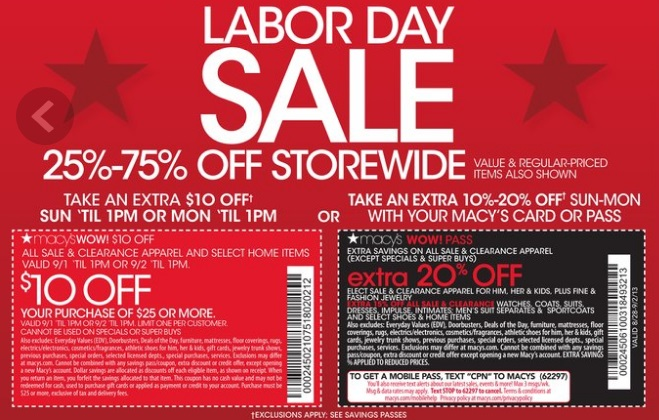 Macy S Labor Day Coupons Save 10 Off 25