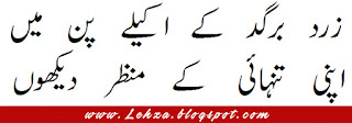 Zard Bargad Ky Akeely Pan My  Apni Tanhaye Ky Manzar Dekhun