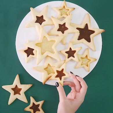 Recette Biscuits Vitraux Etoile de Noël au Caramel