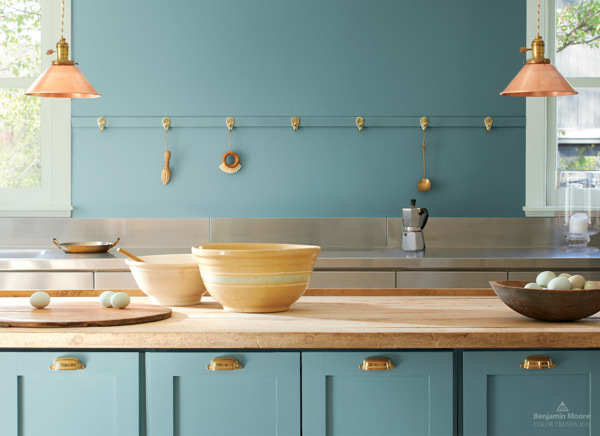 kitchen with cabinets painted in Benjamin Moore Aegean Teal