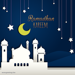 Mosque Crescent moon Ramadan Kareem in English hanging stars