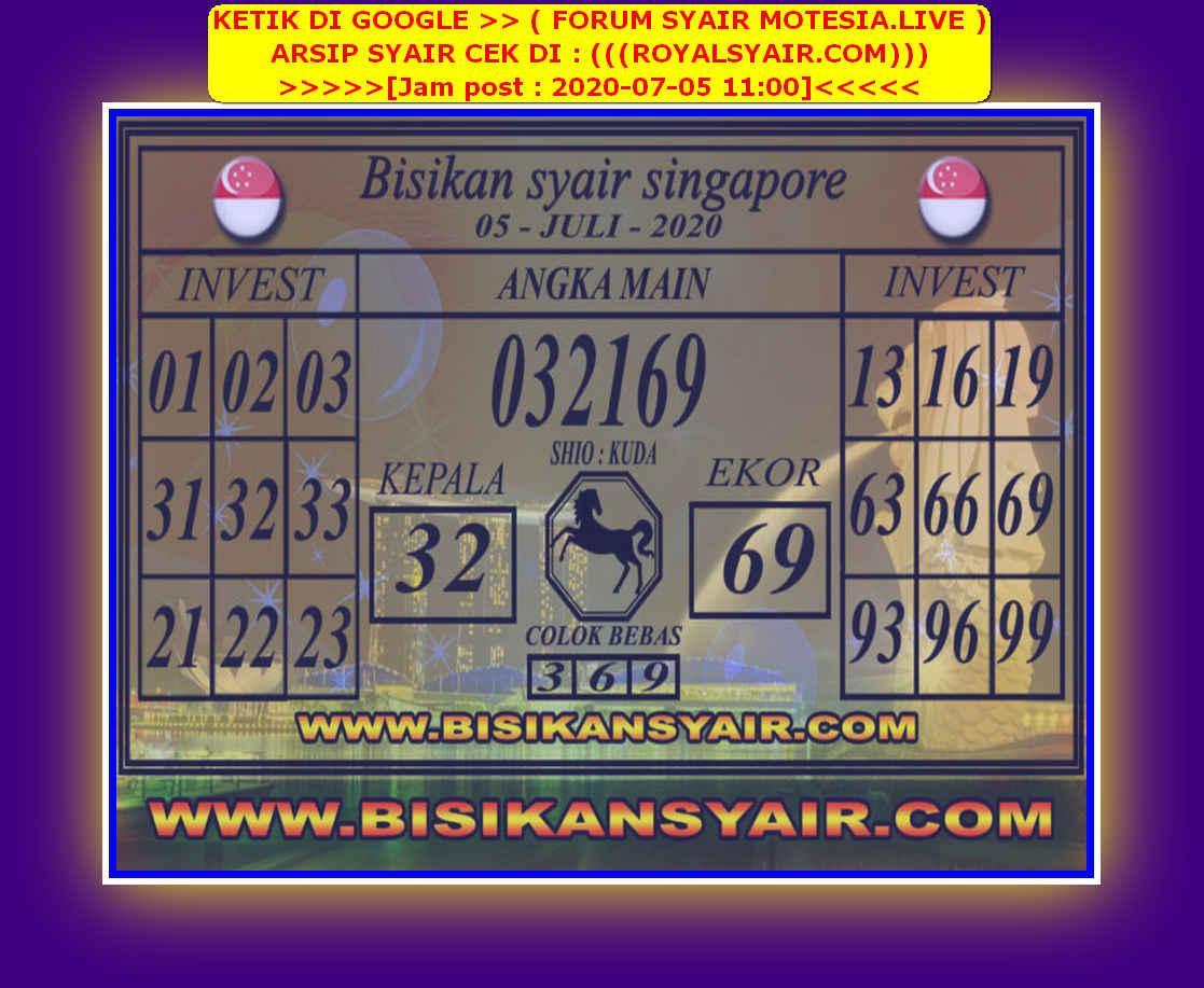 Kode syair Singapore Minggu 5 Juli 2020 158