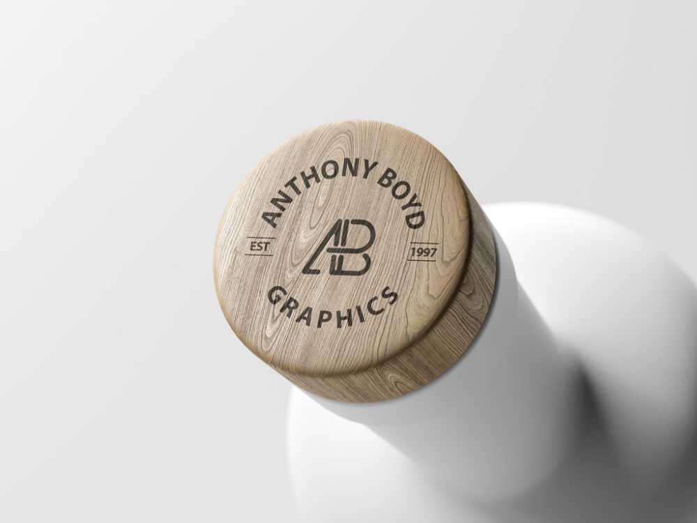 Wooden Matte Bottle Cap Mockup