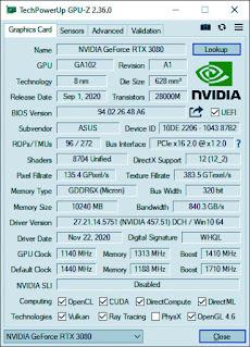 GeForce RTX 3080 de ASUS TUF Gaming