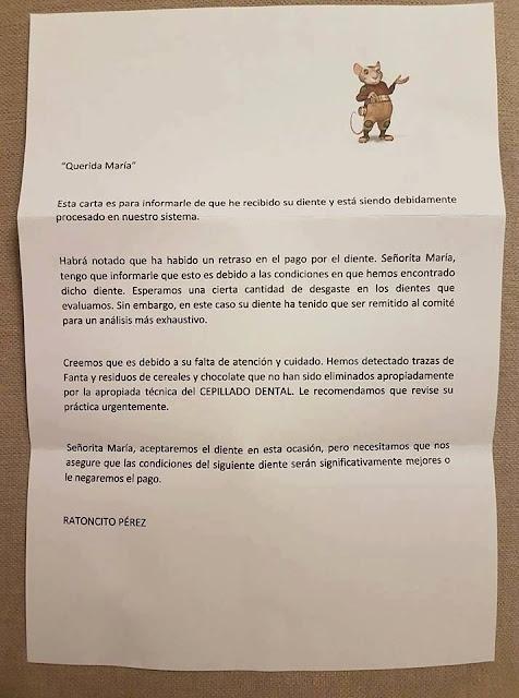 Ratoncito Pérez, diente, querida María