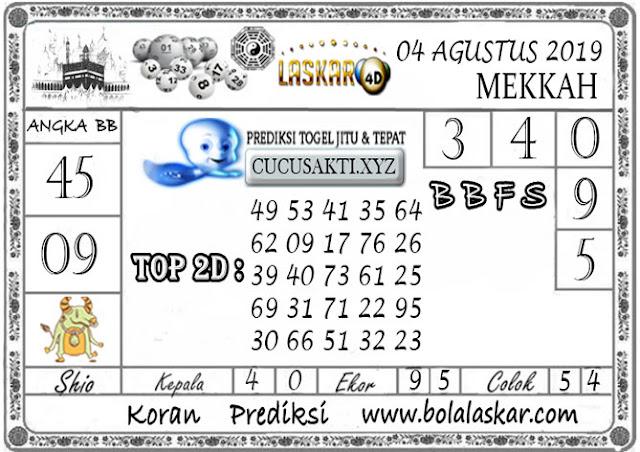 Prediksi Togel MEKKAH LASKAR4D 04 AGUSTUS 2019