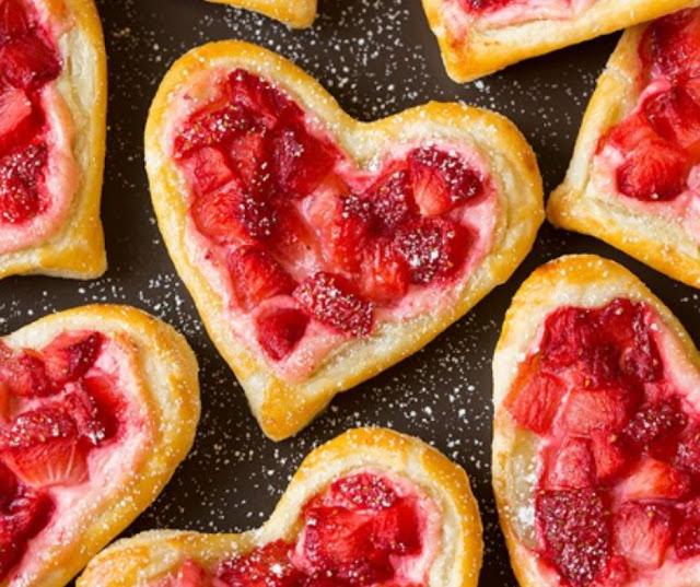 Heart-Shaped Strawberry Cream Cheese Breakfast Pastries