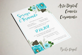 arte convite casamento floral verde azul tiffany