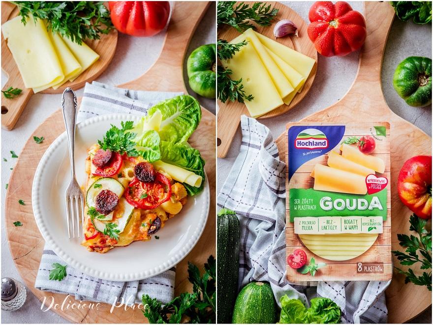 Zapiekanka makaronowa z pomidorami i chorizo