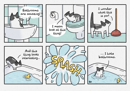 comic strip about cat falling in the bath