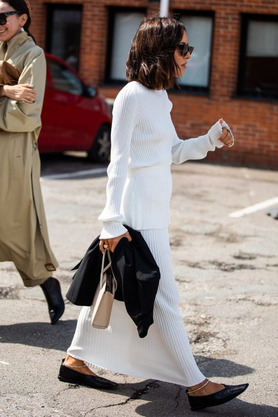 The best ribbed knitwear pieces for fall — Sandra Semburg street style photo — white ribbed top and skirt