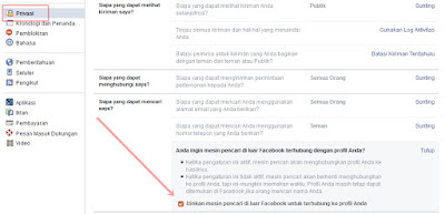 Agar Profil Facebook Tidak Muncul di Mesin Pencari