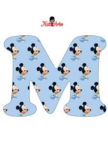 Alfabeto de Mickey Bebé en Fondo Celeste.
