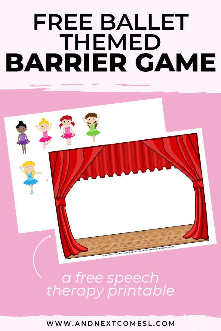 Free speech therapy barrier game: ballet themed