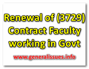 Renewal of (3729) Contract Faculty working in Govt