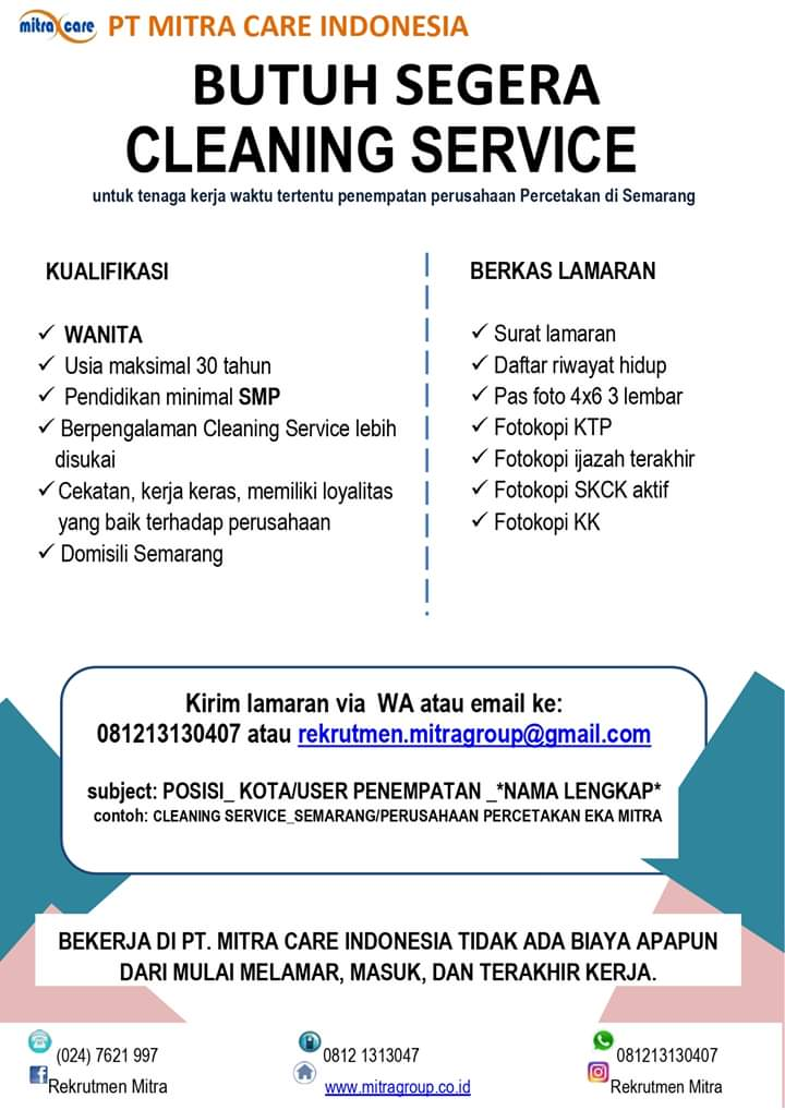 Lowongan Kerja Cleaning Service Wanita Pt Mitra Care Indonesia Semarang Loker Swasta