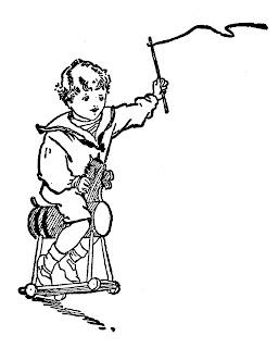 boy rocking horse vintage image illustration artwork drawing