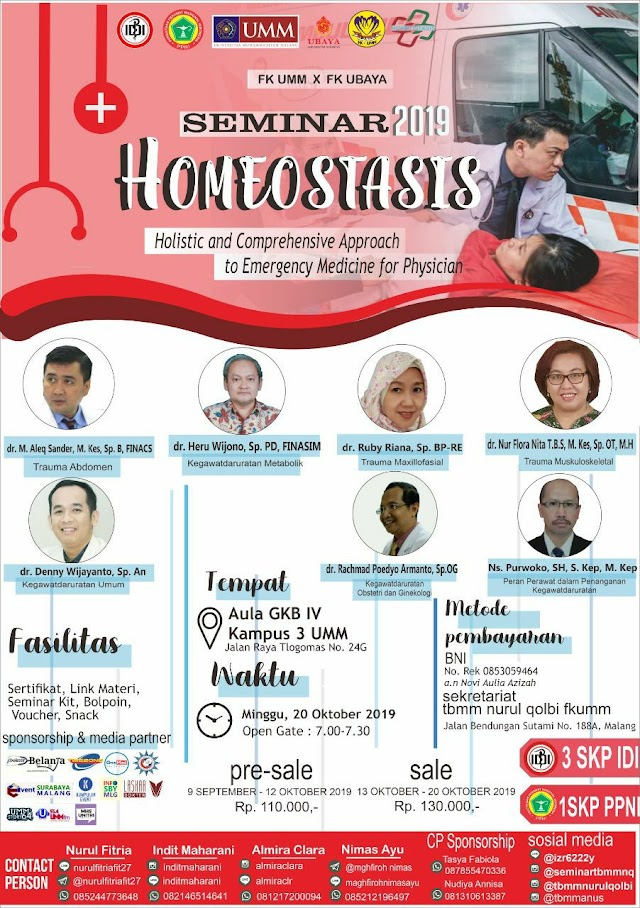 💥PROUDLY PRESENT —HOMEOSTASIS 2019 —💥    ((Holistic and Comprehensive Approach to Emergency Medicine for Physician)) 20 Oktober 2019