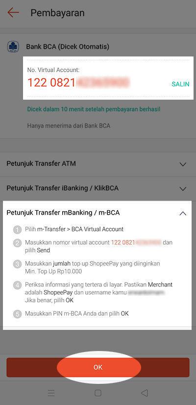 Isi Saldo ShopeePay Via BCA Mobile - Pilih OK